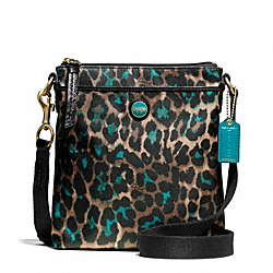 COACH F50137 - SIGNATURE STRIPE OCELOT PRINT SWINGPACK BRASS/JADE MULTICOLOR