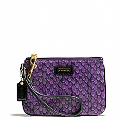 COACH F50146 Taylor Snake Print Small Wristlet BRASS/PURPLE