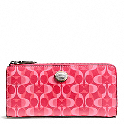 COACH F50150 Peyton Dream C Slim Zip SILVER/BRIGHT CORAL/TAN