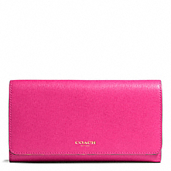COACH F50155 Saffiano Leather Checkbook Wallet LIGHT GOLD/PINK RUBY
