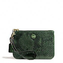 COACH F50162 Signature Stripe Embossed Exotic Small Wristlet BRASS/GREEN