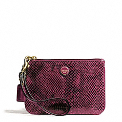 COACH F50162 Signature Stripe Embossed Exotic Small Wristlet BRASS/RASPBERRY