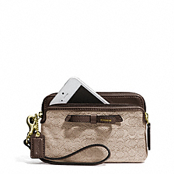 COACH F50165 Poppy Signature C Mini Oxford Double Zip Wristlet BRASS/KHAKI/MAHOGANY
