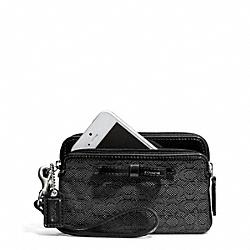 COACH F50165 Poppy Signature C Mini Oxford Double Zip Wristlet SILVER/BLACK/BLACK