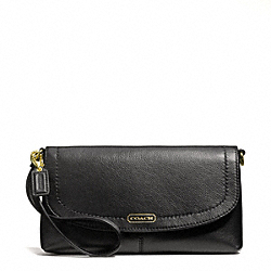 COACH F50183 Campbell Leather Large Wristlet BRASS/BLACK