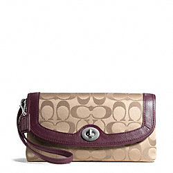 COACH F50184 Campbell Signature Large Wristlet SILVER/KHAKI/BURGUNDY