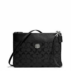 COACH F50213 Signature Turnlock Crossbody SILVER/BLACK/BLACK