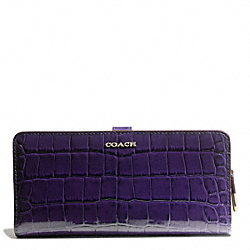 COACH F50222 Madison Croc Embossed Leather Skinny Wallet