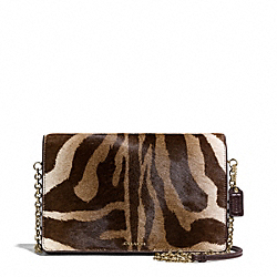 MADISON PRINTED HAIRCALF SLIM CLUTCH - f50239 - LIGHT GOLD/BROWN MULTI