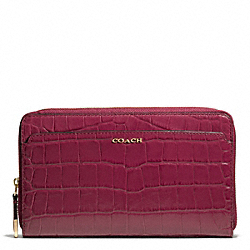 COACH F50249 Madison Croc Embossed Leather Continental Zip Wallet