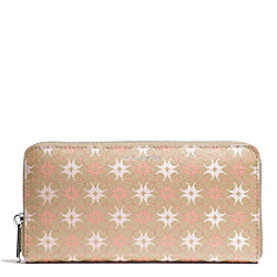 COACH F50273 Waverly Signature Print Accordion Zip Wallet SILVER/KHAKI/LT PINK