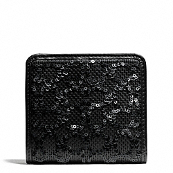 COACH POPPY SEQUIN SIGNATURE C FABRIC SMALL WALLET - BRASS/BLACK - F50284