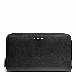 COACH SAFFIANO LEATHER CONTINENTAL ZIP WALLET - BRASS/BLACK - F50285