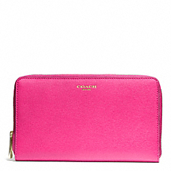COACH F50285 Saffiano Leather Continental Zip Wallet LIGHT GOLD/PINK RUBY