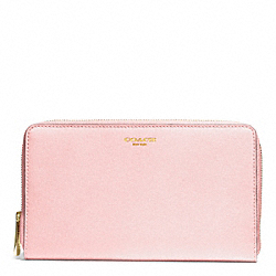 COACH F50285 Saffiano Leather Continental Zip Wallet LIGHT GOLD/NEUTRAL PINK