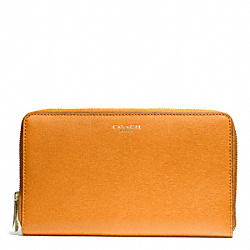 COACH F50285 Saffiano Leather Continental Zip Wallet LIGHT GOLD/BRIGHT MANDARIN