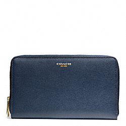 COACH F50285 Saffiano Leather Continental Zip Wallet LIGHT GOLD/NAVY