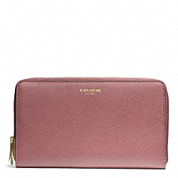 COACH F50285 Saffiano Leather Continental Zip Wallet LIGHT GOLD/ROUGE