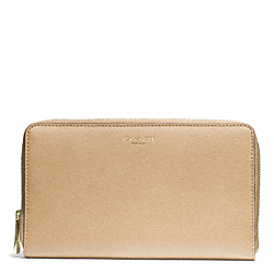 COACH F50285 Saffiano Leather Continental Zip Wallet LIGHT GOLD/TAN