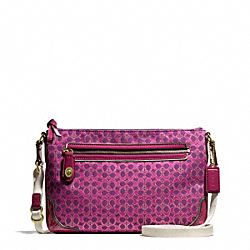 COACH F50288 Poppy Signature C Metallic Outline East/west Swingpack BRASS/MAGENTA/MAGENTA