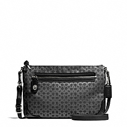 COACH F50288 - POPPY SIGNATURE C METALLIC OUTLINE EAST/WEST SWINGPACK SILVER/BLACK/BLACK