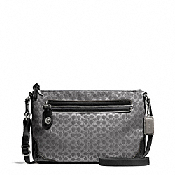 COACH F50288 - POPPY SIGNATURE C METALLIC OUTLINE EAST/WEST SWINGPACK SILVER/CHARCOAL/CHARCOAL