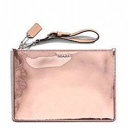 COACH F50292 Mirror Metallic Leather Flat Zip Case