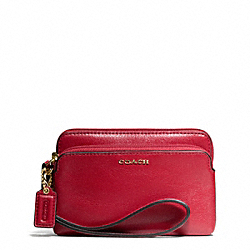 COACH F50310 Madison Leather Double Zip Wristlet LIGHT GOLD/SCARLET