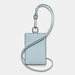 MADISON ID LANYARD IN LEATHER - f50317 -  SILVER/SEA MIST