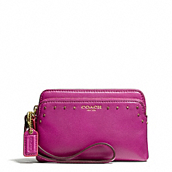 COACH F50332 Poppy Double Zip Wristlet In Studded Leather