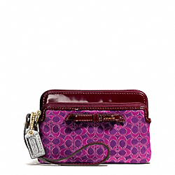 COACH F50335 Poppy Metallic Outline Double Zip Wristlet BRASS/MAGENTA/MAGENTA
