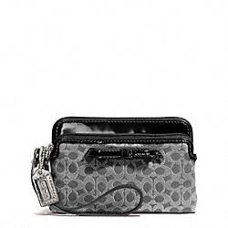 COACH F50335 Poppy Metallic Outline Double Zip Wristlet SILVER/CHARCOAL/CHARCOAL