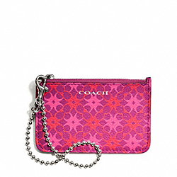 COACH F50339 Waverly Id Skinny In Signature Print Coated Canvas SILVER/MAGENTA