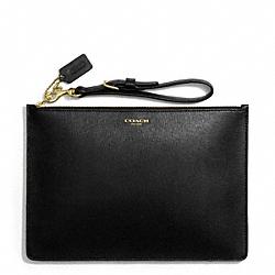 COACH F50372 Saffiano Leather Flat Zip Case BRASS/BLACK