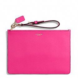 COACH F50372 Saffiano Leather Flat Zip Case LIGHT GOLD/PINK RUBY