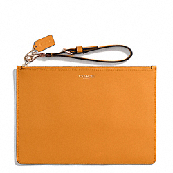 COACH F50372 Saffiano Leather Flat Zip Case LIGHT GOLD/BRIGHT MANDARIN