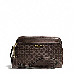 COACH F50392 Madison Double Zip Wristlet In Needlepoint Op Art Fabric LIGHT GOLD/MAHOGANY