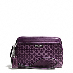 COACH F50392 Madison Double Zip Wristlet In Needlepoint Op Art Fabric SILVER/BLACK VIOLET