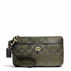 COACH F50422 Campbell Signature Metallic Medium Wristlet BRASS/MOSS