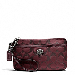COACH F50422 Campbell Signature Metallic Medium Wristlet SILVER/BORDEAUX