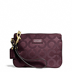 COACH F50423 Taylor Op Art Signature Small Wristlet BRASS/BORDEAUX