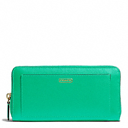 COACH F50427 Darcy Accordion Zip Wallet In Leather BRASS/JADE