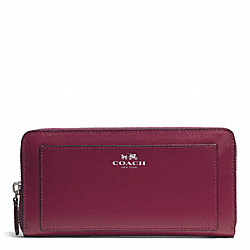 COACH DARCY LEATHER ACCORDION ZIP WALLET - SILVER/MERLOT - F50427
