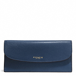 COACH F50428 Darcy Leather Soft Wallet INK BLUE