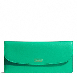 COACH F50428 Darcy Soft Wallet In Leather BRASS/JADE