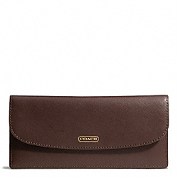 COACH DARCY LEATHER SOFT WALLET - BRASS/MAHOGANY - F50428
