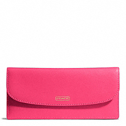 COACH F50428 Darcy Soft Wallet In Leather BRASS/POMEGRANATE