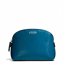 COACH F50429 Darcy Patent Leather Small Cosmetic Case SILVER/TEAL