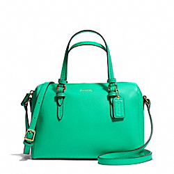 COACH F50430 Peyton Bennett Mini Satchel In Metallic Leather BRASS/JADE