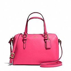 COACH F50430 Peyton Bennett Mini Satchel In Metallic Leather BRASS/POMEGRANATE